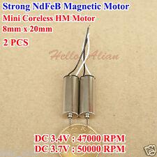 2PCS 8mm*16mm Motor Coreless DC 3.7V 54000RPM Alta Velocidad Fuerte NdFeB imán Hazlo tú mismo