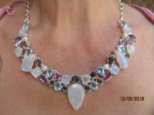 collana argento 925  tormalina topazio perle ametista antica