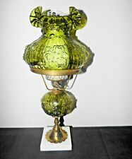 FENTON GONE WITH THE WIND VINTAGE 3-WAY FANCY GREEN GLASS &MARBLE HURRICANE LAMP