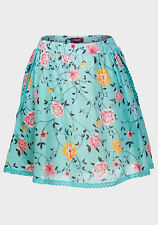 Lace trimmed turquoise/aqua floral A-line skirt, lightweight with lining.