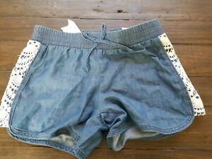 Girls Justice Blue Shorts With Lace elastic waist NWT Sz 8