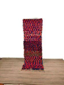 Gorgeous Runner Carpet Handmade Hallway Area Tribal Boucherouite Cotton 8'X2' ft