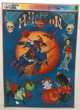 Rainbow Window Clings Happy Halloween Holiday Witch Skull Skeleton Vampire Bones