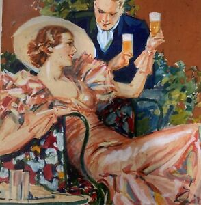 Vintage 1940s BEER Advertising Original ILLUSTRATION Painting - Ballantine? Bud?