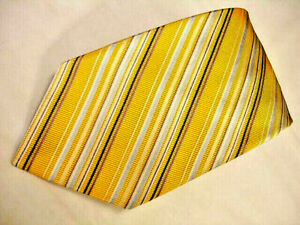 ALTEA Milano All Woven Gold Silk/Cotton Stripe Tie Made in Italy EXCELLENT