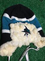 San Jose Sharks Reebok NHL Hockey Tassel & Pom Pom Winter Knit Hat/Beanie