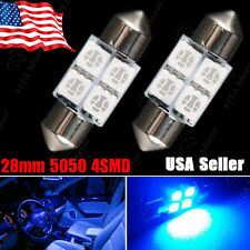 2 PCS Brand New Ultra Blue Festoon 27/28mm 5050 4-SMD Dome Map LED Light Bulbs