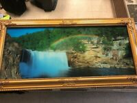 Vintage Lighted Waterfall Motion Framed w/ Sound 39x19