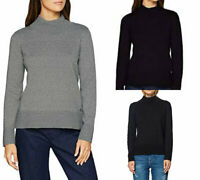 Esprit Womens Navy Blue Grey Black Funnel Neck Long Sleeve Jumper Sweater