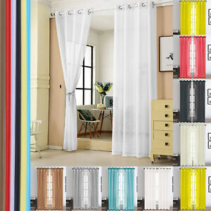 1 Pair Lucy Slot Eyelet Top Plain Voile Curtain Panel Washable - Net & Voile New