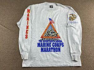 1992 Marine Corps Marathon Shirt Long Sleeve Peoples Marathon United States VTG