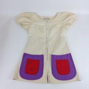 vtg girls 1960s mod pop art dress cotton canvas 70s honey bees