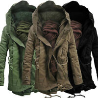 Men's Winter Military Midi Long Trench Coat Ski Jacket Hooded Thick Cotton Parka
