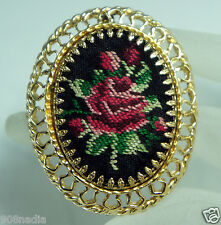 VINTAGE GOLD TONE & FABRIC NEEDLE POINT ROSE BROOCH/PIN/PENDANT