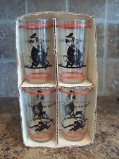 Set of 4 Vintage Hazel Atlas Gas Station Giveaway Drinking Glasses w/Box