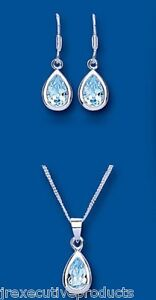 Blue Topaz Set Solid Silver Pendant and Drop Earrings Hallmarked