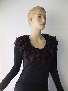 Eleganter ausgefallener Schulterwärmer Schal Rüschen schwarz bunt Stola Kragen
