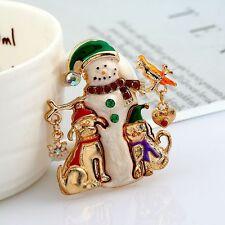 Crystal Love Heart Xmas Enamel Snowman Pet Bird Brooch Gift Jewelry Pin