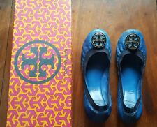 TORY BURCH WOMEN'S CAROLINE MESTICO ELASTIC LEATHER FLATS-BLUE, Size 8