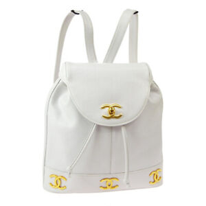 CHANEL Quilted CC Backpack Bag Purse White Caviar Skin Leather 2681821 AK38673j
