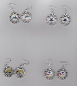 NFL Football Sports Team round Earrings. Buy any 2 & get a team charm free