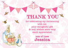 Personalised Thank you cards Peter Rabbit Christening Girl Baptism envelopes