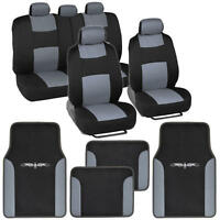Car Seat Covers Set Black and Gray w/ PU Leather Trim Carpet Pads Floor Mats