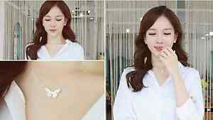 Korea Fashion Butterfly Metallic Necklace #Silver color