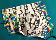 Adult Black & White Peace Love Collie Tie Dye Trim Face Masks 100% to Rescue