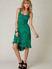 Free People Victorian Dreams Lace Embroidered Ruffle Dress Emerald Green Rare