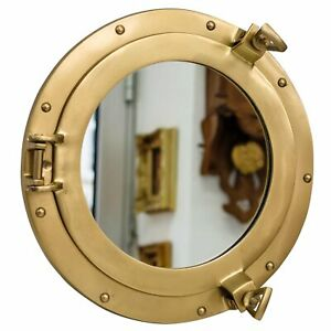 "8"" Maritime Brass Porthole Round Window Glass Nautical Boat Ship Porth Mirror"