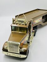 Vintage Nylint Car Hauler Semi Truck MUSCLE MOVER Brown Tractor Trailer Diecast