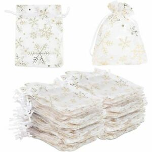 Organza Gift Bags for Christmas Party, Gold Snowflakes (3.5 x 4.75 in, 120 Pack)