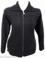 WOMENS SIZE 16 - 26 NEW BLACK ZIP CARDIGAN KNITTED JACKET LADIES