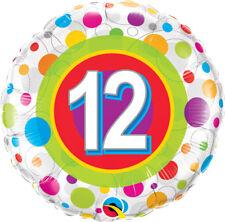 "12th BIRTHDAY PARTY SUPPLIES 18"" AGE 12 COLOURFUL DOTS QUALATEX FOIL BALLOON"