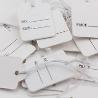 100Pcs White Paper Jewelry Clothes Label Price Tags With Elastic String 5*3F1ES