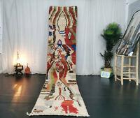 Handmade Moroccan Boujad Runner Rug 2'6x11'5 Berber Abstract Red Green Wool Rug