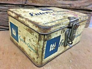 Old 1970 Vintage Entero - Quinol Medical Tin box Adv.East India Pharmaceutical