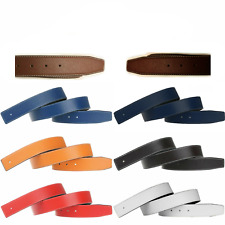 100% Genuine Leather Replacement Belt Strap with Stitching Reversible 1.5