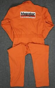 Vintage Lee Union-Alls USA Talon Zip Magcobar Oilfield Coveralls Orange 40L