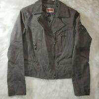 LEVI'S Gray Brushed Suede Genuine Leather Motorcycle Moto Full Zip Jacket M EUC