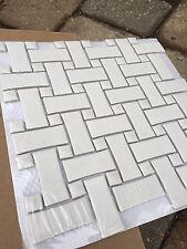 SomerTile 10.5x10.5-inch Victorian Basket Weave White Porcelain Mosaic Tile