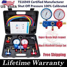 R134A AC Manifold Gauge Set R410a R22 A/C Refrigeration Air Conditioner w/ Case