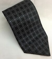 Nautica Geometric Pattern 100% Black Silk Tie with Grey and Lavender Accents