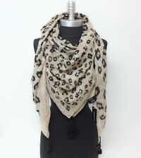 New Women Square Scarf Multi scale leopard print w/tassels Soft Wrap Shawl Brown