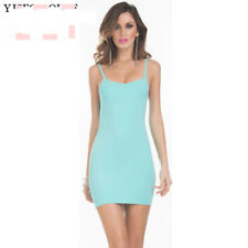 Light   Green Cami Stretch Spaghetti Strap Tank TOP Tunic Mini Dress 6-8