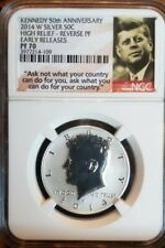 2014W KENNEDY 50TH ANNIVERSARY 50C HIGH RELIEF  REV PROOF NGC PF70 ER   B4