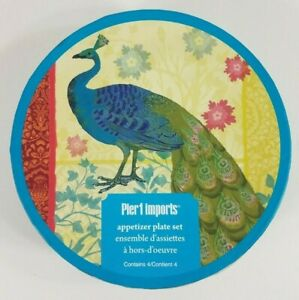 NIP Pier 1 Imports Peacock 6 inch appetizer plates cocktail dishes teal Set of 4