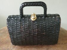 Vintage Koret Italy Black Wicker Purse With Floral Lining