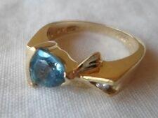 Modern 14k Yellow Gold Trillion Topaz Diamond Ring - 4.6 gms, Size 6, 0.60 ctw
